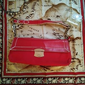 Red Baguette Shoulder Bag Chain Faux Leather VTG